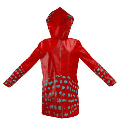 Textural Collection in red and turquoise Womens Hooded Rain Mac