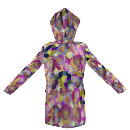 Moon Collection on cream Womens Hooded Rain Mac