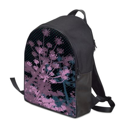 Backpack - Florals Black and Purple