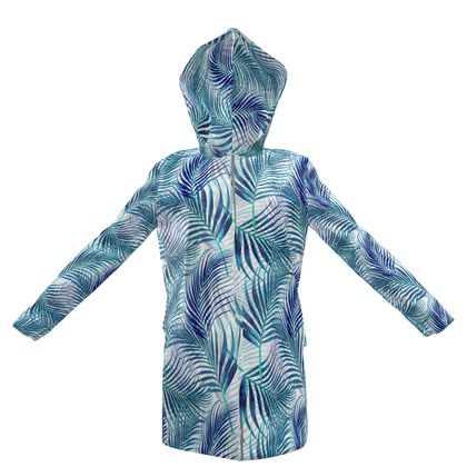 Tropical Garden in blue Collection Womens Hooded Rain Mac