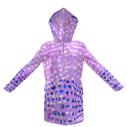 Textural Collection in mauve and blue Womens Hooded Rain Mac