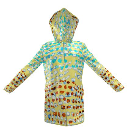 Textural Collection in beige and turquoise Womens Hooded Rain Mac