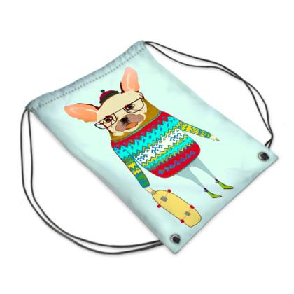 French Bulldog Skater Swim Bag