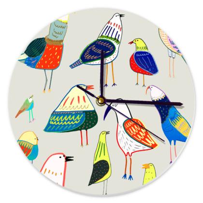 Colourful Birds Round Clock