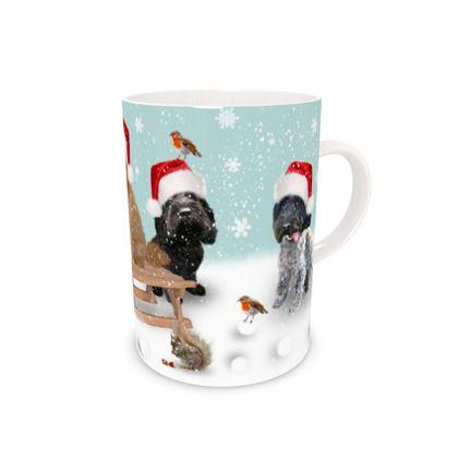 Bone China mug with four dogs