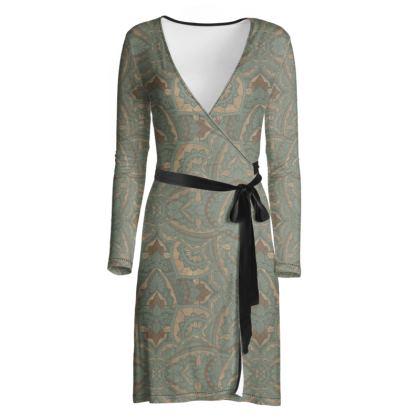 Art deco vintage green & Gold -  Wrap dress