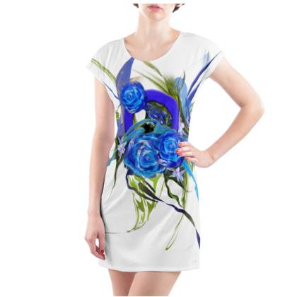 Tunic, T Shirt Dress – Tunika, T-shirt klänning - Blue flower white