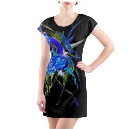 Tunic, T Shirt Dress – Tunika, T-shirt klänning - Blue flower black