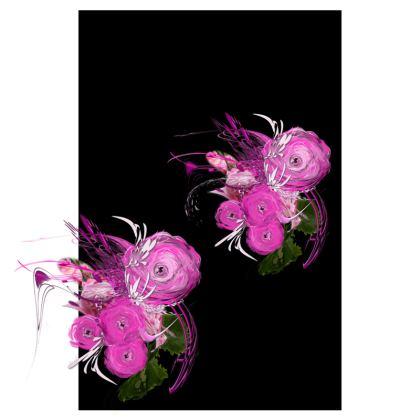Tunic, T Shirt Dress – Tunika, T-shirt klänning - Pink summer fantasy black