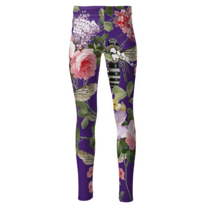 Purple Flora and Bee High Waisted Leggings
