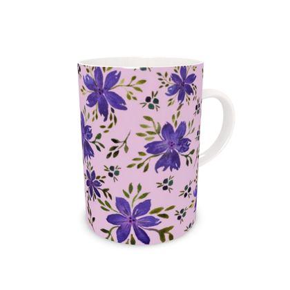 Tall Bone China Mug - Lizzie (flowers)
