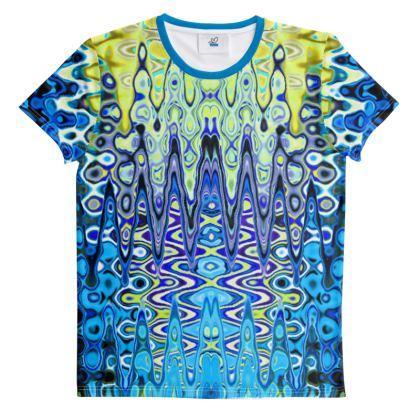 All Over Print T Shirt Blue Green Splashes Pattern