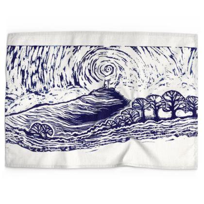 Glastonbury Tor Print Tea Towel
