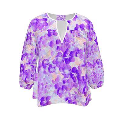 Womens Blouse Purple Spring Flowers