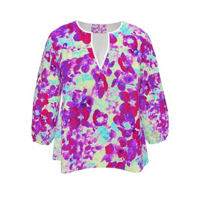 Womens Blouse Red Spring Flowers