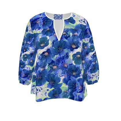 Womens Blouse Blue Prim Roses