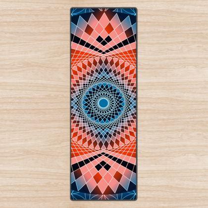 Yoga Mat Blue Red Mandala