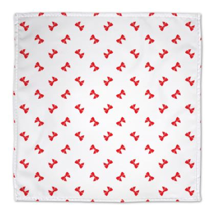 Christmas red ribbon bow white napkin