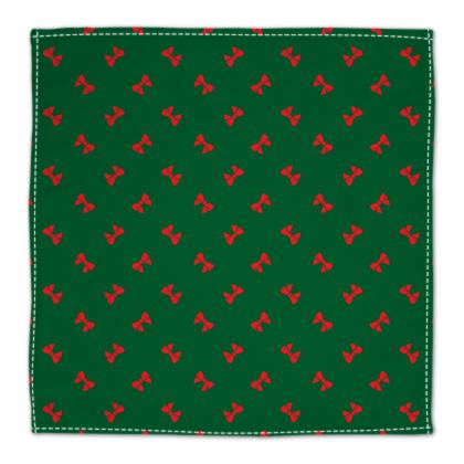 Christmas red ribbon bows green napkin