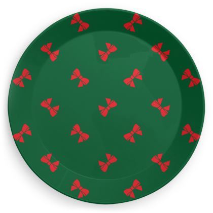 Christmas red ribbon bows green party plate