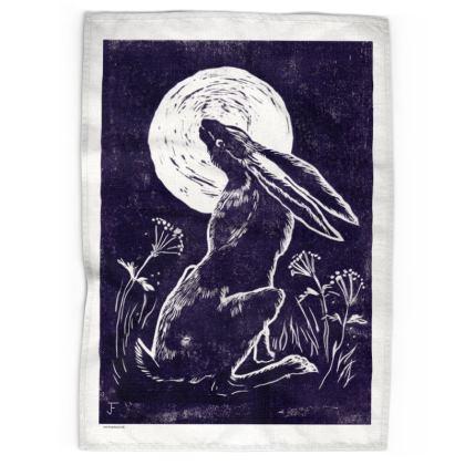 Magical Moon Gazing Hare Tea Towel