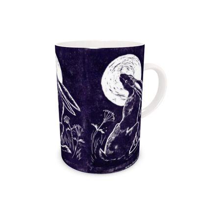Moon Gazing Hare Bone China Mug