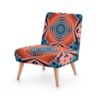 Occasional Chair Blue Red Mandala