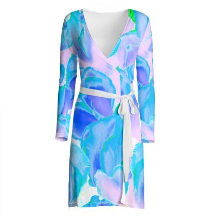 Wrap Dress Blue Ciclamen