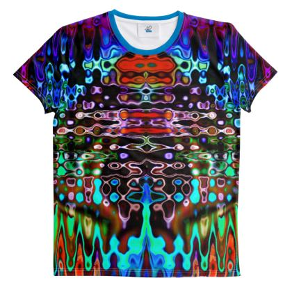 All-Over Print T-Shirt Dark Blue Brown Splashes