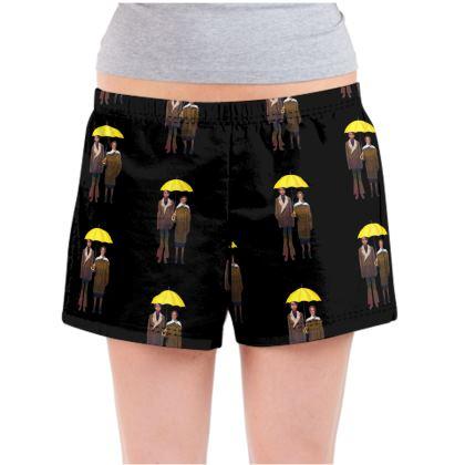 Yellow Umbrella  Ladies Pyjama Shorts