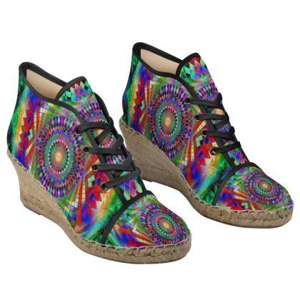 Ladies Wedge Espadrilles Rainbow Mandala