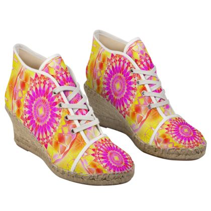 Ladies Wedge Espadrilles Yellow Pink Mandala