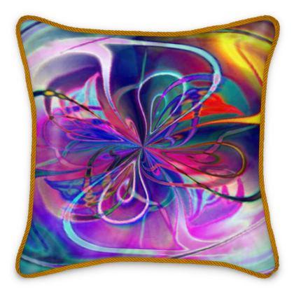 Silk Cushion Abstract Purple Flower