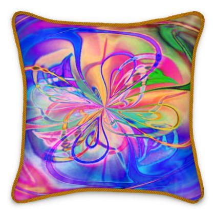 Silk Cushions Blue Pink Flower