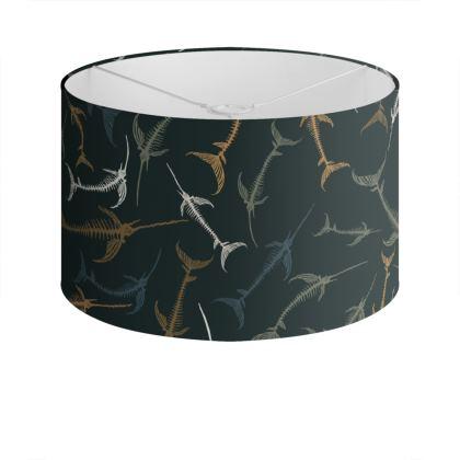 Fish Bone Collection - Dark Slate - Luxury Drum Lamp Shade