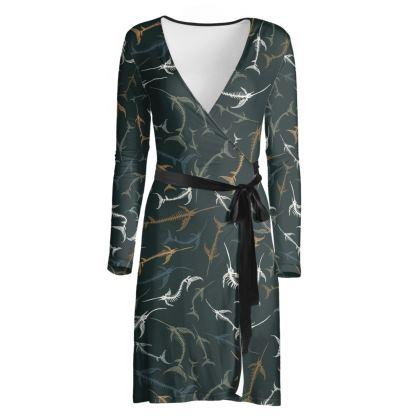 Fish Bone Collection - Dark Slate - Luxury Ladies Wrap Dress