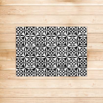 Rug Black White Tile Pattern