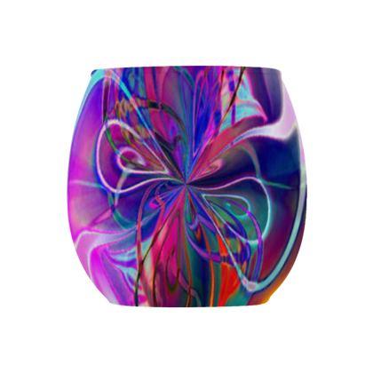 Glass Tealight Holder Purple Flower
