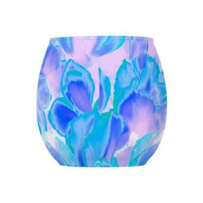 Glass Tealight Holder Blue Ciclamen