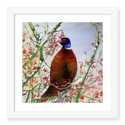 Pheasant Eating Berries - Framed Print