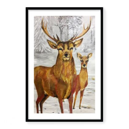 A Stag and his Doe in Winter