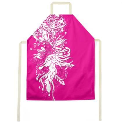 Apron - Förkläde - White Ink Flower Hot Pink