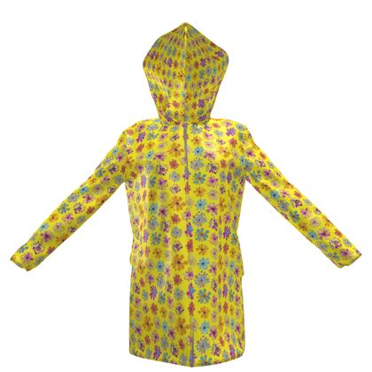 Rainbow Daisies Collection on yellow Womens Hooded Rain Mac