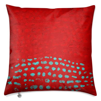 Textural Collection in red and turquoise Luxury Cushions