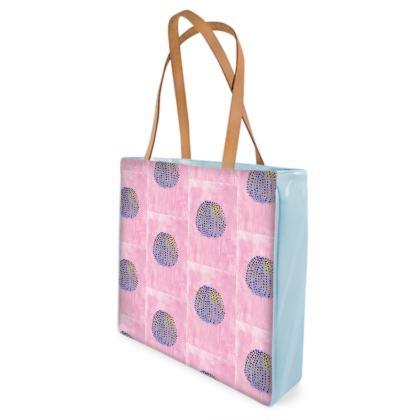 Beach Bag - Blue Sea Urchin on Pink