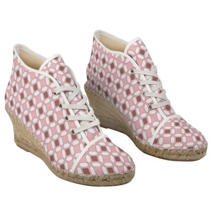Ladies Wedge Espadrilles Pink Rhomboids