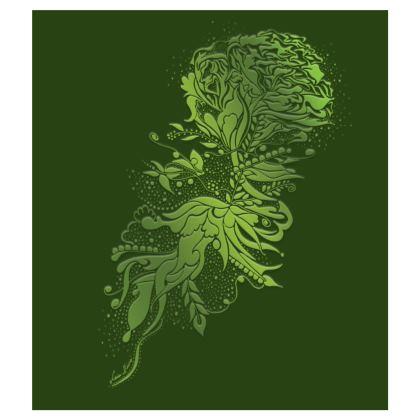 Skater dress - Skater Klänning - Green ink flower