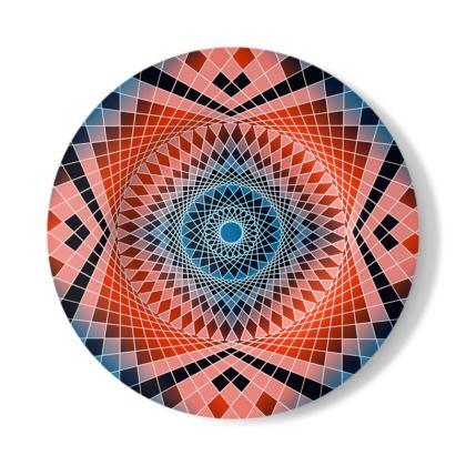 Decorative Plate Red Blue Mandala Pattern