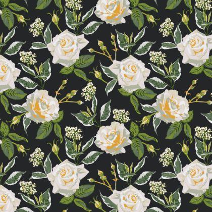 Luxury Cushion with White Rose Design