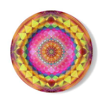 Decorative Plate Gold Pink Mandala